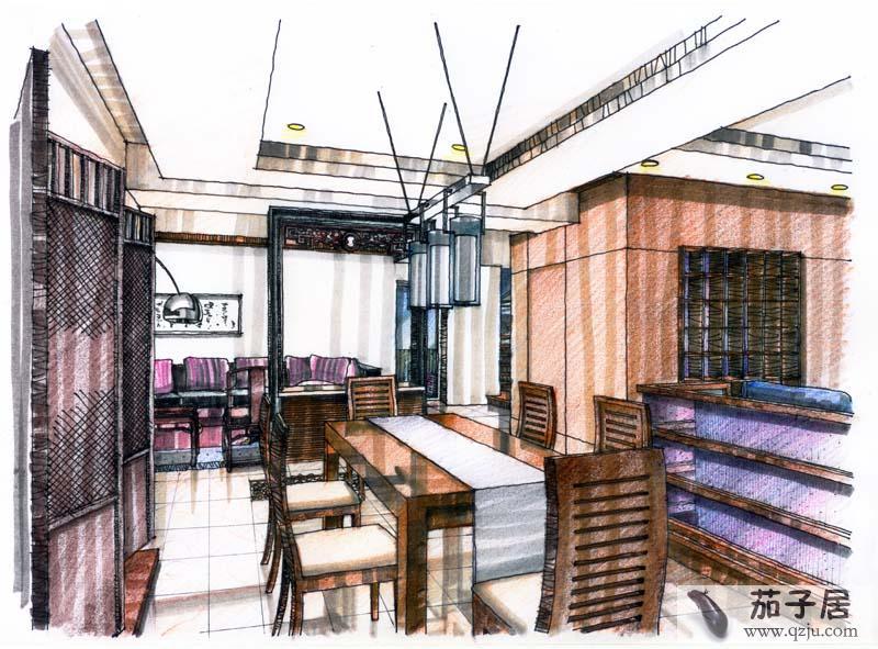 餐厅吧台手绘效果图