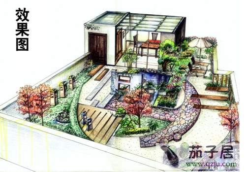 花园装修手绘效果图 - 中国展览设计网|国外展台搭建