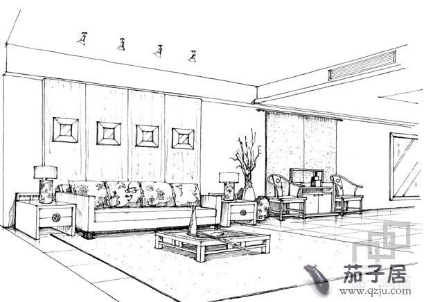 室内客厅手绘效果图