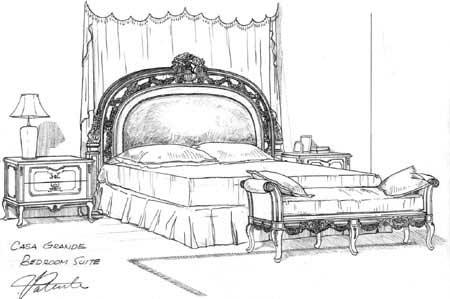 家具三视图手绘图片
