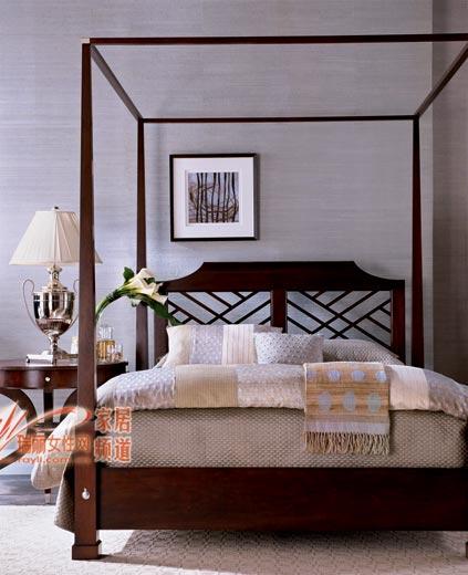 舒适的木床及床品,营造高品质的卧室.摩登魅力-卧房