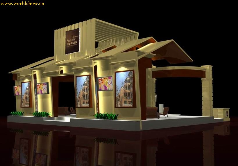 展示设计空间鱼类展厅手绘两点透视图 快速上色