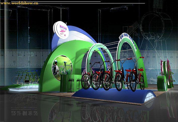 电动自行车展台展示设计效果图欣赏 中国展览