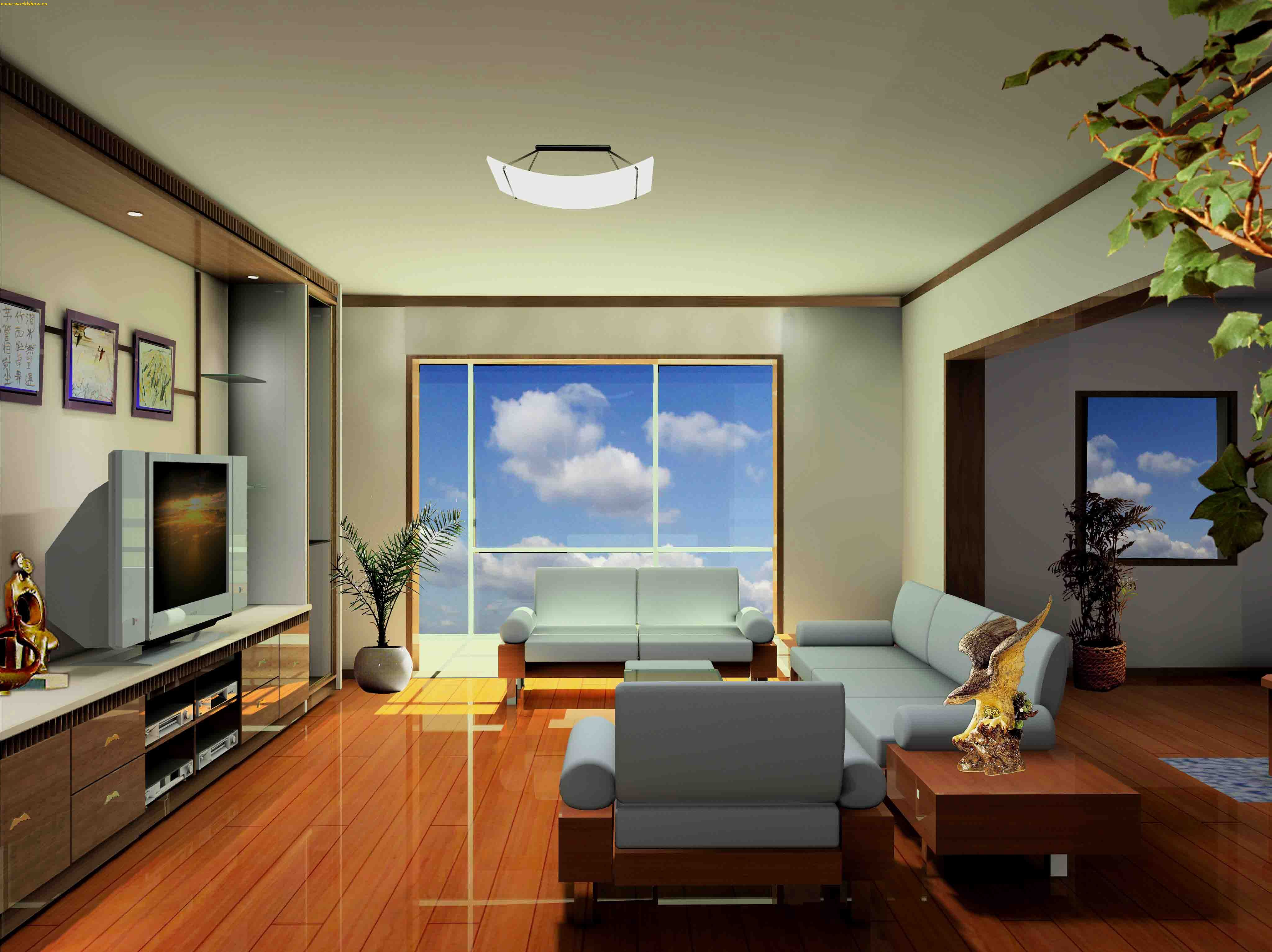 现代简约客厅背景墙效果图-室内设计师张晨设计作品   简约