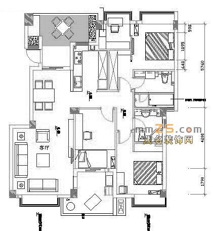 3房2厅平面图