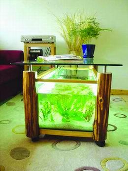 方形鱼缸的过滤器可以隐藏在桌几的脚里,圆形鱼缸能安在底座内.