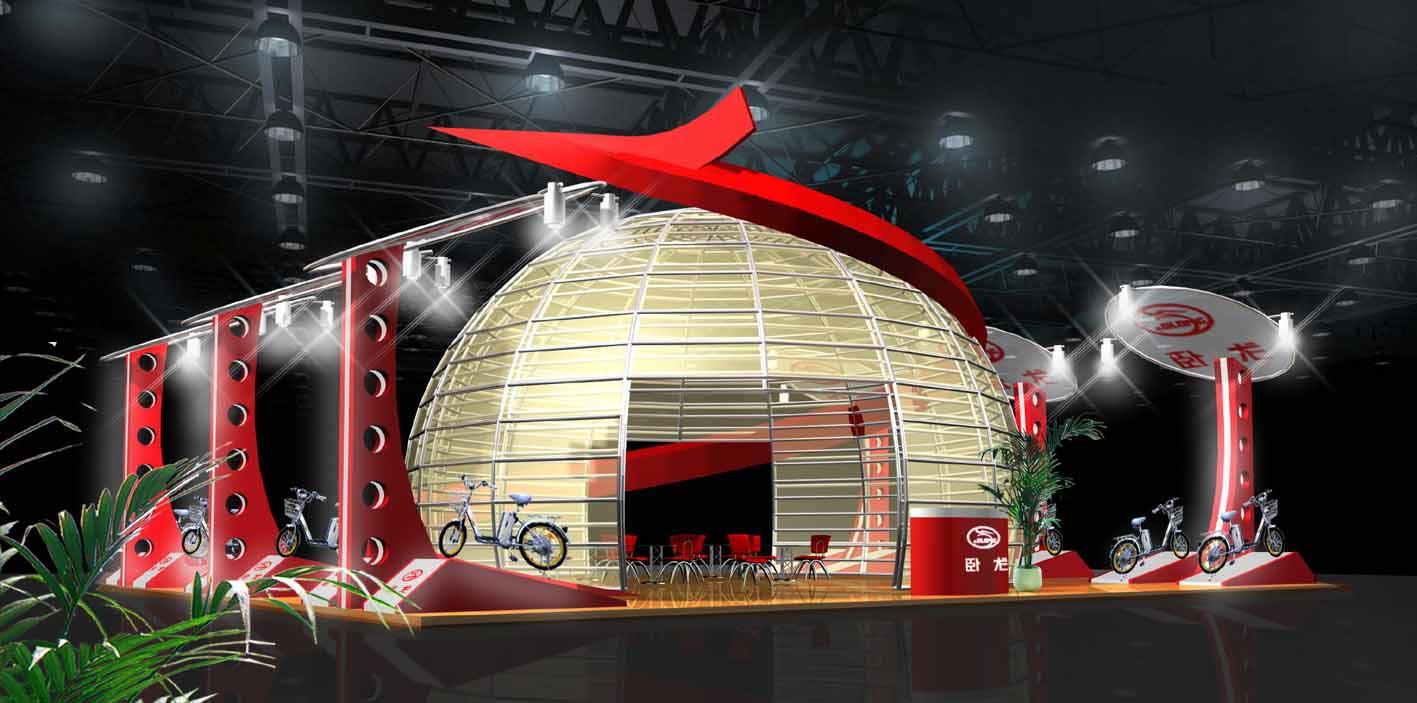 卧龙电动车展台展位设计制作效果图欣赏