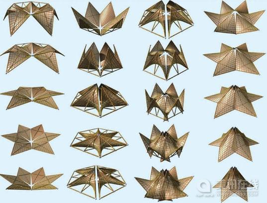 这些由中国台湾著名竹雕工艺师陈铭堂设计的由折纸激发灵感而得的可折叠竹屋可作为震后的临时住所。这些几何形状的竹屋设计的非常简洁,全部选用可回收材料制作,并且可按照其结构纹理以多种方式折叠起来。 受今年5月份中国四川汶川特大毁灭性大地震的触动,陈铭堂先生设计了这些可折叠竹屋。当其得知中国政府计划修建150万个临时住所的消息后,他决定要设计一些易生产、成本低并且环保的临时房。他所设计的几何形状折叠屋不仅美观,而且可以依据地形特点进行调节。 其可折叠性主要由于竹竿可以预先安装为一牢固的几何形状。这些几何形状使得结