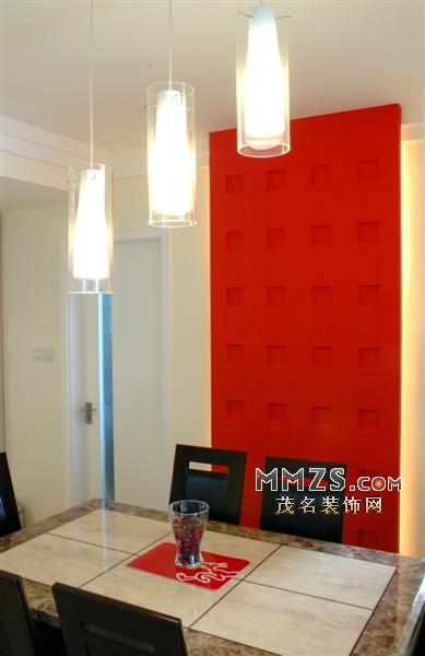 餐厅红色造型背景墙